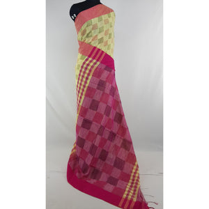 Beige and pink color checks hand woven Khadi cotton saree - Vinshika
