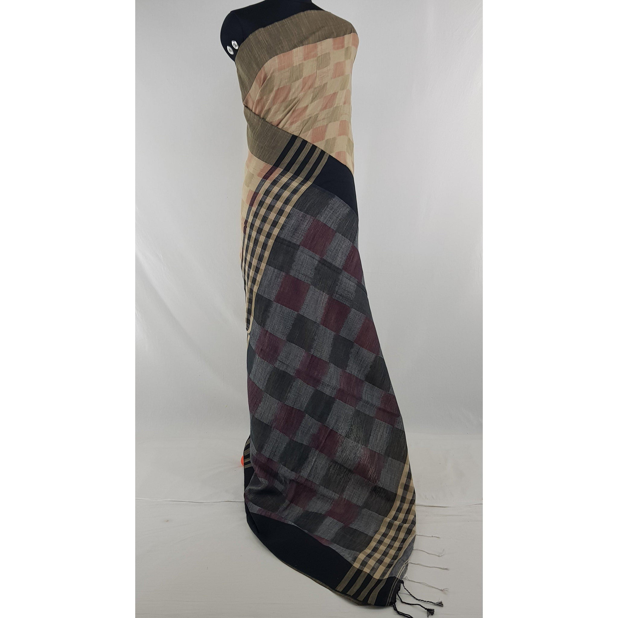 Beige and Cream color checks hand woven Khadi cotton saree - Vinshika