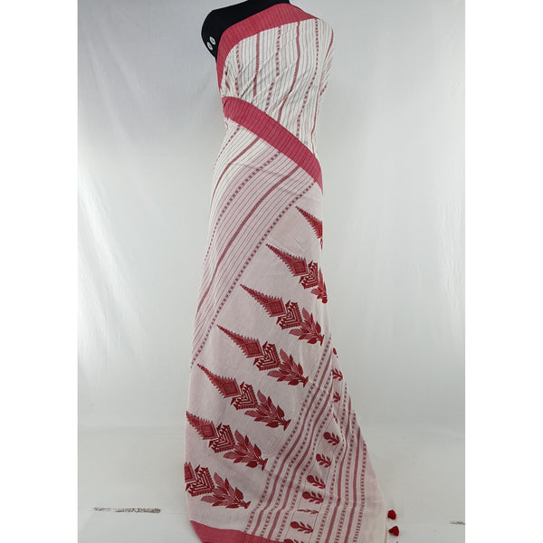 White and Red Color Handwoven Begampuri cotton saree - Vinshika