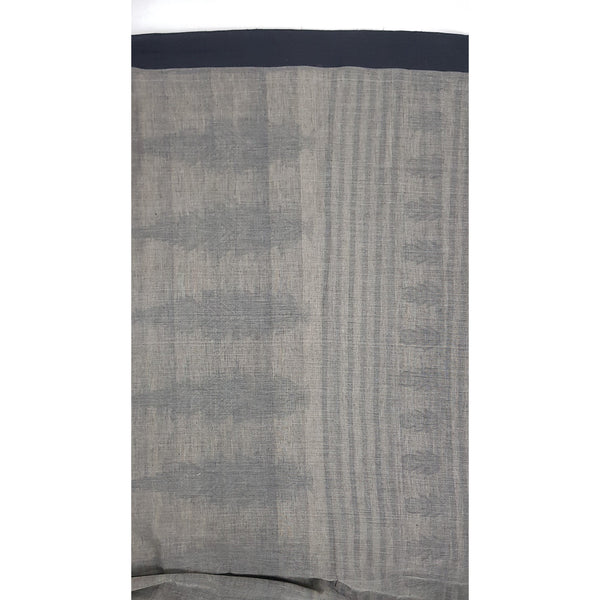Grey and Black Color Handwoven Begampuri cotton saree - Vinshika