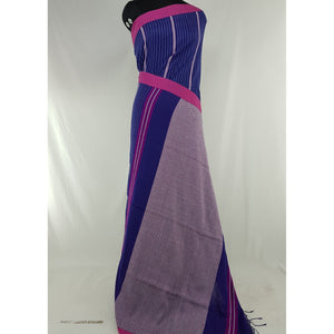 Navy Blue and Pink Color Handwoven Begampuri cotton saree