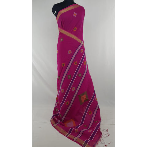 Pink color Khadi cotton by resham jamdani buttis handwoven saree - Vinshika