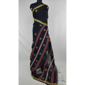 Black color Khadi cotton by resham jamdani buttis handwoven saree - Vinshika