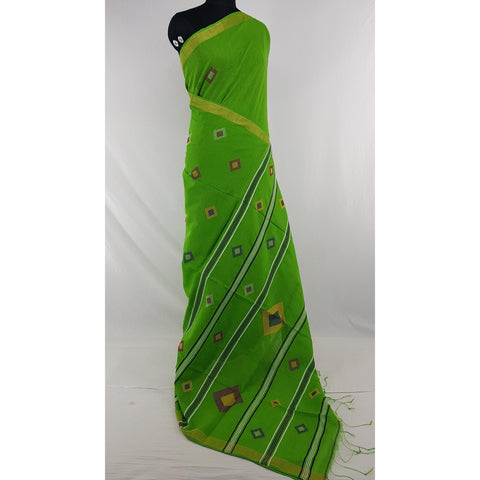 Parrot Green color Khadi cotton by resham jamdani buttis handwoven saree - Vinshika