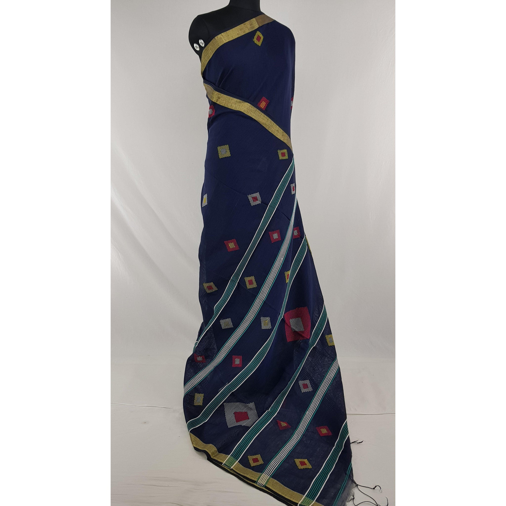 Navy blue color Khadi cotton by resham jamdani buttis handwoven saree - Vinshika