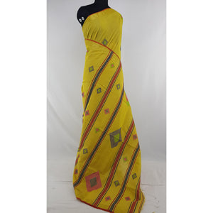 Yellow color Khadi cotton by resham jamdani buttis handwoven saree - Vinshika