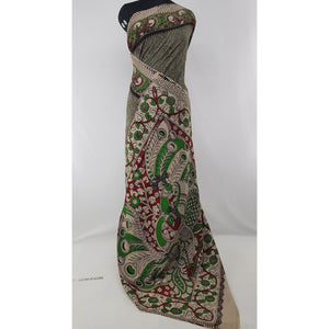 Handprinted Kalamkari Silk saree
