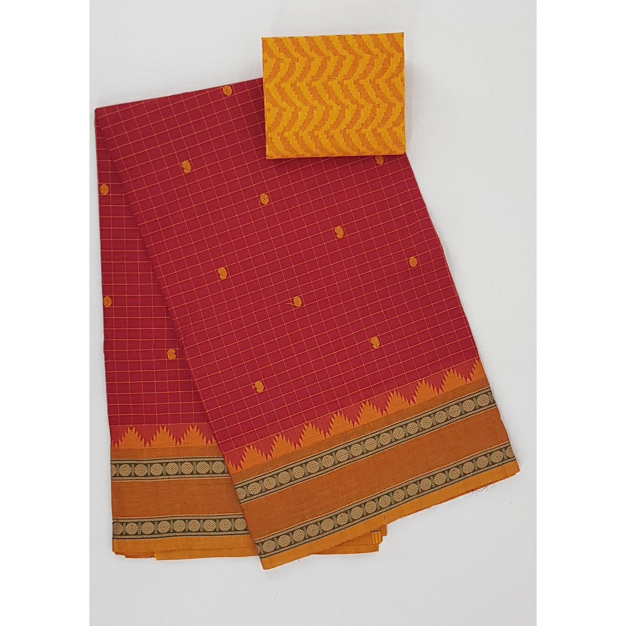 Scarlet and Yellow Color Kanchi cotton saree with thread border and all over checks - Vinshika