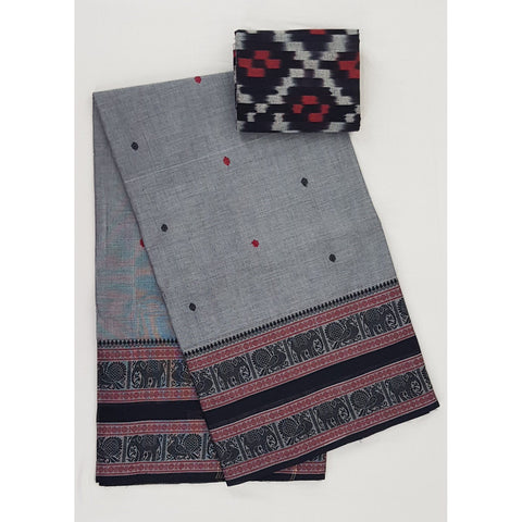 Grey and Black Color Kanchi cotton saree with thread border - Vinshika