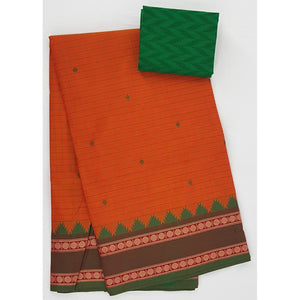 Saffron and Green Color Kanchi cotton saree with thread border - Vinshika