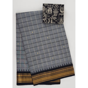 Grey and Black Color Kanchi cotton saree with zari border - Vinshika
