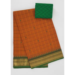 Saffron and Green Color Kanchi cotton saree with zari border - Vinshika