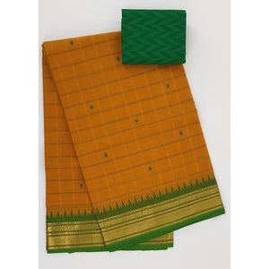 Yellow and Green Color Kanchi cotton saree with zari border - Vinshika