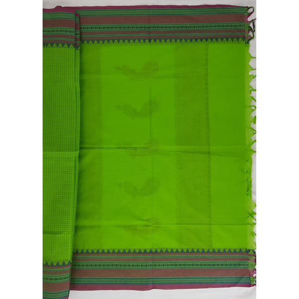Parrot Green and Pink Color Kanchi cotton saree with thread border and Rich Pallu - Vinshika