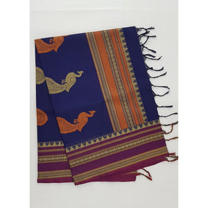 Blue and Maroon Color Kanchi cotton saree with thread border and Rich Pallu - Vinshika