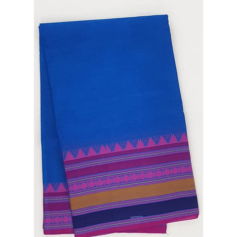 Blue and Pink Color Kanchi cotton saree with thread border - Vinshika