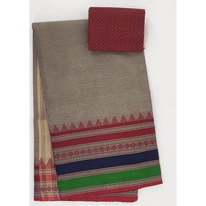 Beige and Maroon Color Kanchi cotton saree with thread border - Vinshika