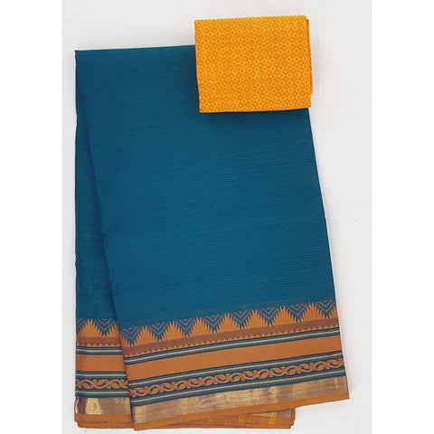 Blue and Yellow Color Kanchi cotton saree with thread border - Vinshika