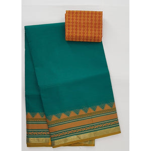 Aqua Blue and Yellow Color Kanchi cotton saree with thread border - Vinshika