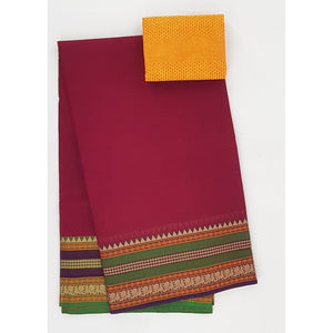 Maroon and Yellow Color Kanchi cotton saree with thread border - Vinshika