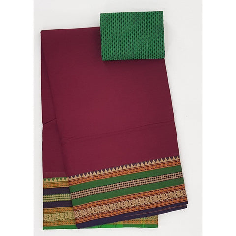 Dark Maroon and Green Color Kanchi cotton saree with thread border - Vinshika
