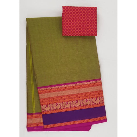 Green and Pink Color Kanchi cotton saree with thread border - Vinshika