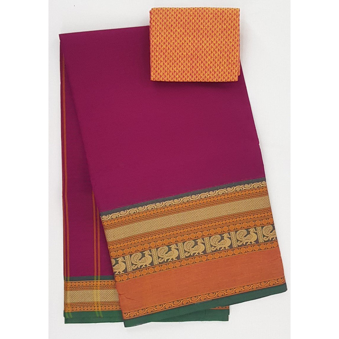 Rani Pink and Yellow Color Kanchi cotton saree with thread border - Vinshika