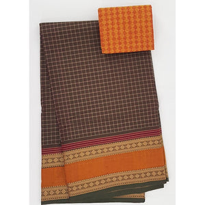 Olive and Yellow Color Kanchi cotton saree with thread border - Vinshika