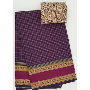 Violet and Maroon Color Kanchi cotton saree with thread border - Vinshika
