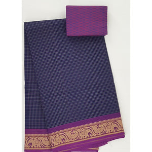 Blue and Purple Color Kanchi cotton saree with thread border - Vinshika
