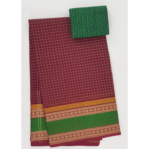 Maroon and Green Color Kanchi cotton saree with thread border - Vinshika