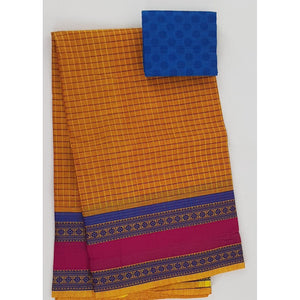 Saffron and Blue Color Kanchi cotton saree with thread border - Vinshika