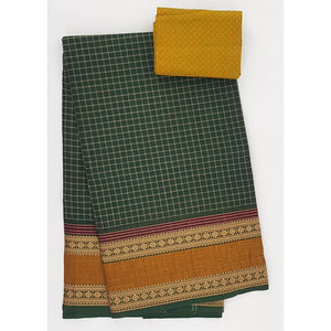 Green and Yellow Color Kanchi cotton saree with thread border - Vinshika