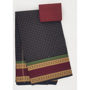 Black and Maroon Color Kanchi cotton saree with thread border - Vinshika