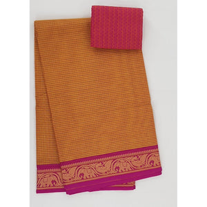 Alphonso and Pink Color Kanchi cotton saree with thread border - Vinshika