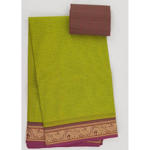 Olive and Maroon Color Kanchi cotton saree with thread border - Vinshika