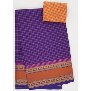 Purple and Yellow Color Kanchi cotton saree with thread border - Vinshika