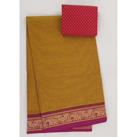 Yellow and Pink Color Kanchi cotton saree with thread border - Vinshika