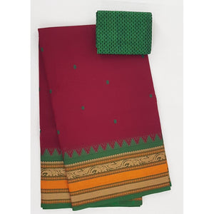 Maroon and Green Color Kanchi cotton saree allover buttis with thread border - Vinshika