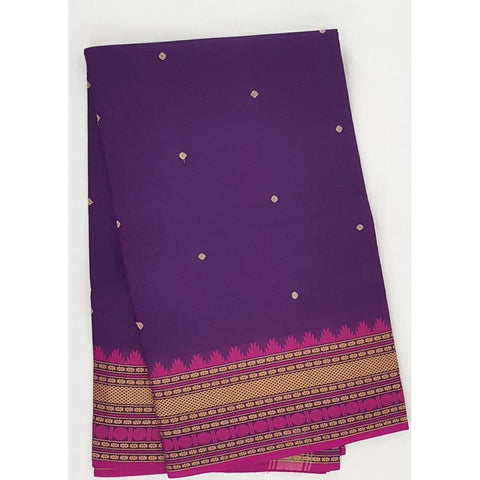 Purple and Pink Color Kanchi cotton saree allover buttis with thread border - Vinshika