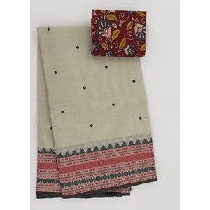Cream and Black Color Kanchi cotton saree allover buttis with thread border - Vinshika