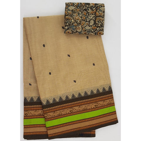 Beige and Brown Color Kanchi cotton saree allover buttis with thread border - Vinshika