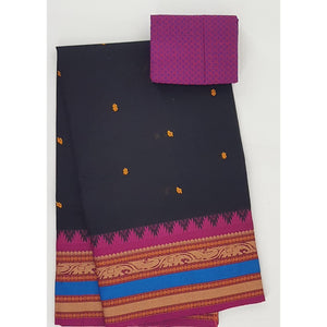 Black and Pink Color Kanchi cotton saree allover buttis with thread border - Vinshika