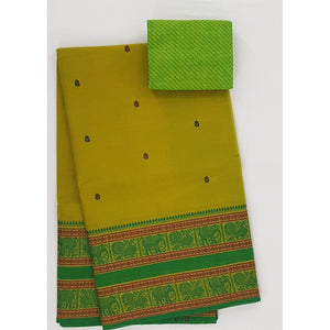 Olive and Green Color Kanchi cotton saree allover buttis with thread border - Vinshika