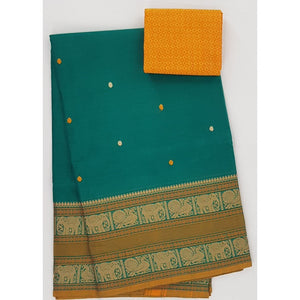 Kiwi and Yellow Color Kanchi cotton saree allover buttis with thread border - Vinshika