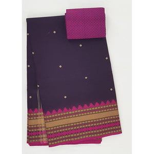 Dark Brinjal and Falsa Color Kanchi cotton saree allover buttis with thread border - Vinshika