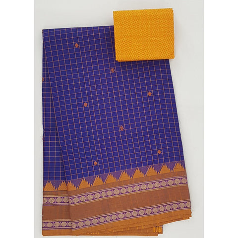 Blue and Yellow Color Kanchi cotton saree allover checks and buttis with thread border - Vinshika