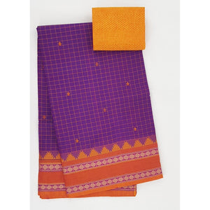 Lavender and Saffron Color Kanchi cotton saree allover checks and buttis with thread border - Vinshika