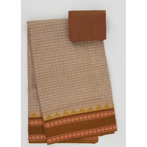 Wheat and Rust Color Kanchi cotton saree allover checks and buttis with thread border - Vinshika