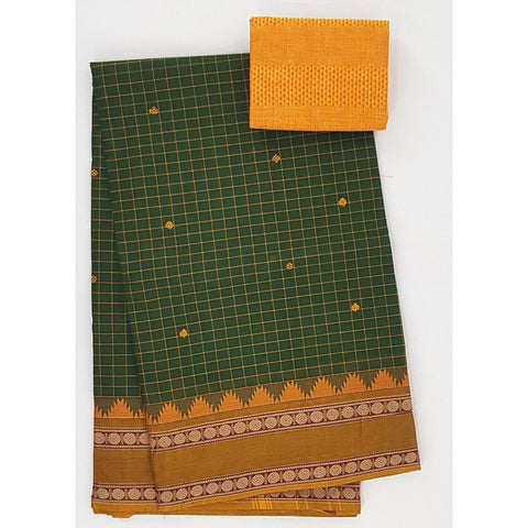 Green and Yellow Color Kanchi cotton saree allover checks and buttis with thread border - Vinshika